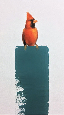 Cardinal  11x17 Oil on Paper  2017