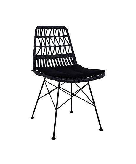 Καρέκλα Plex Μαύρη Μεταλλική