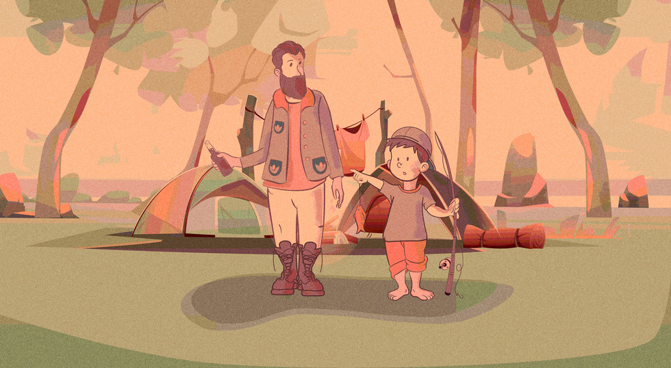 Father and Son fishing trip illustration and short animation