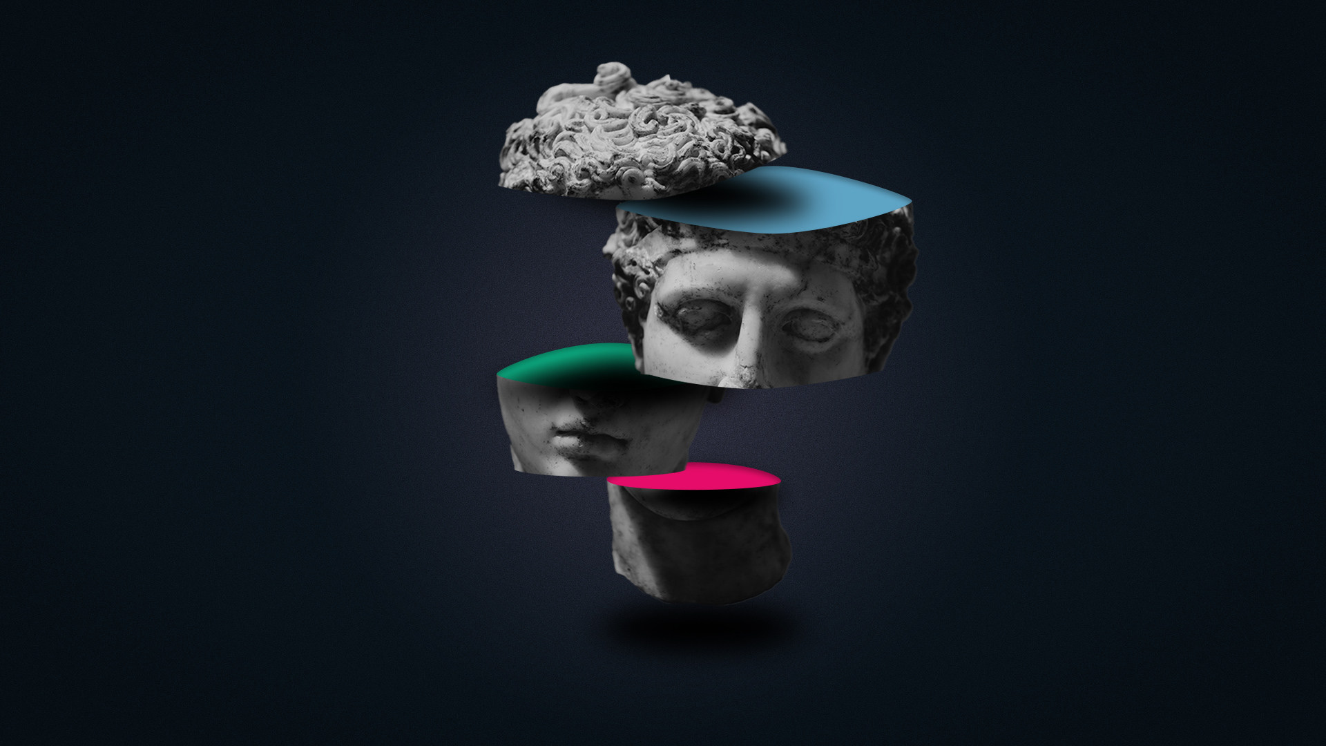 Sliced head manipulation and Split the RGB Channels in Photoshop and After Effects.