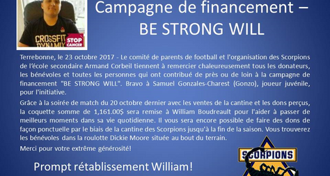 Campagne de finacement «Be Strong Will»