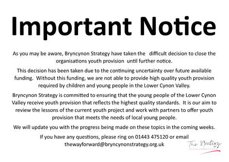 IMPORTANT NOTICE - YOUTH CLUBS