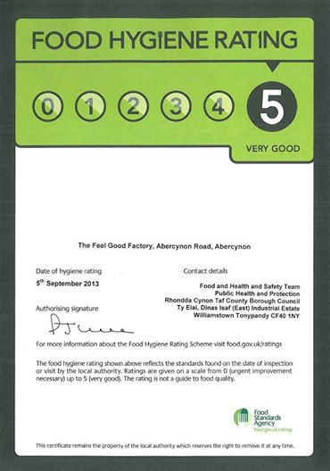 Food Hygiene rating of 5!