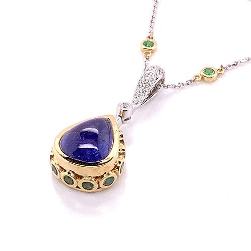 Tanzanite, Tsavorite & Diamond Necklace