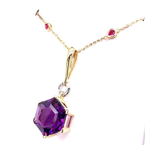 Amethyst & Pink Tourmaline Necklace