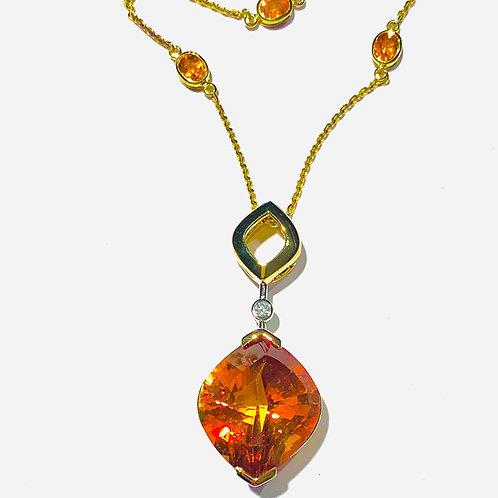 Citrine,Spessarite & Diamond Necklace