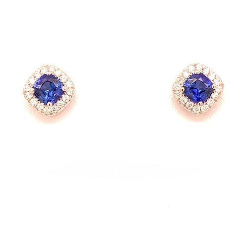 Ceylon Blue Sapphire & Diamond Earrings