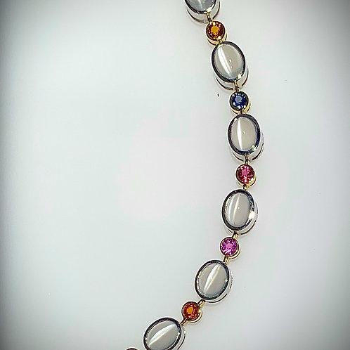 Multi-Color Sapphire & Cat's Eye Moonstone Bracelet