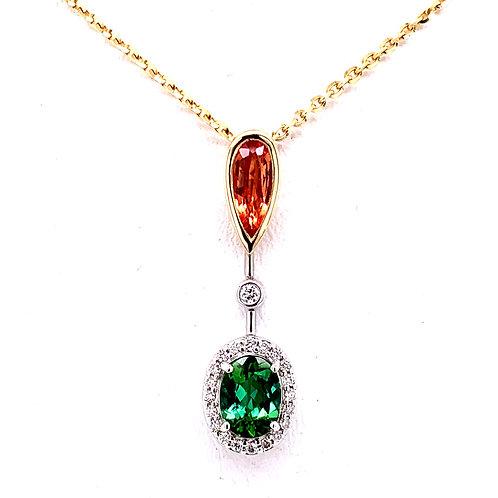 Green Tourmaline, Orange Sapphire & Diamond Necklace