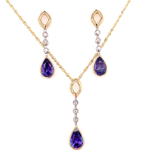 Tanzanite & Diamond Necklace and Earrings