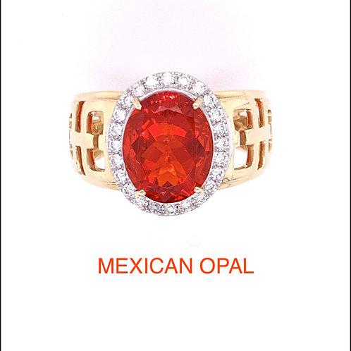 Mexican Opal & Diamond Ring
