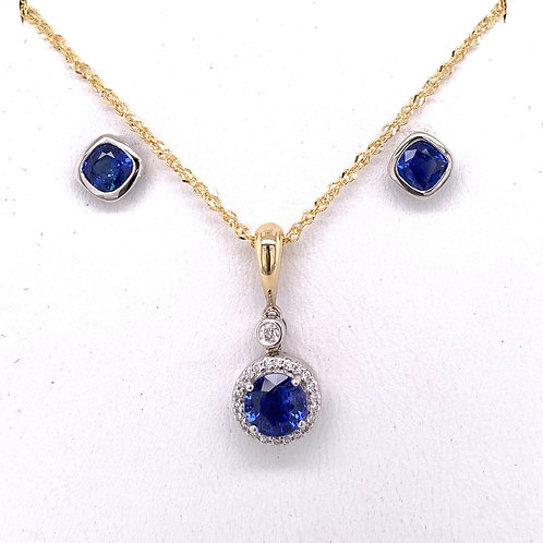 Sapphire & Diamond Necklace and Sapphire Earrings