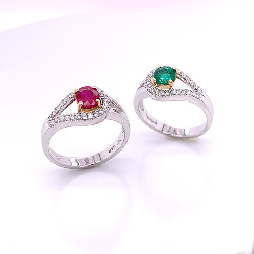 Ruby and Emerald Rings with Diamonds