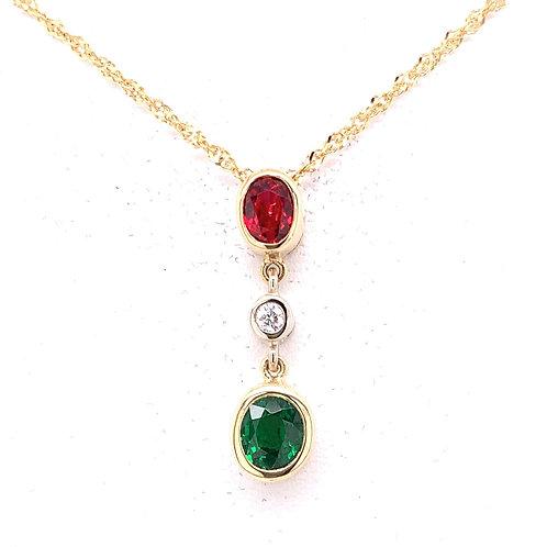 Tsavorite, Spinel & Diamond Necklace