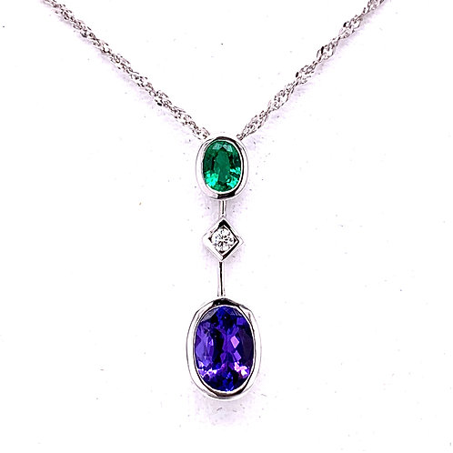 Tanzanite, Emerald & Diamond Necklace