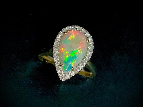 Crystal Opal & Diamond Ring