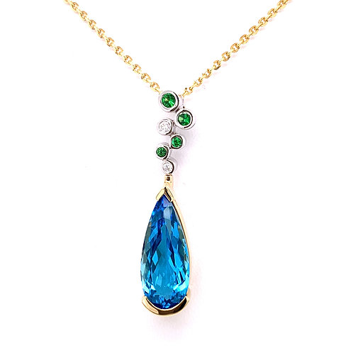 Blue Topaz, Tsavorite & Diamond Necklace