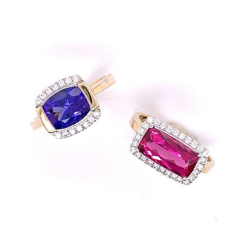 Tanzanite and Rubellite Rings with Diamonds