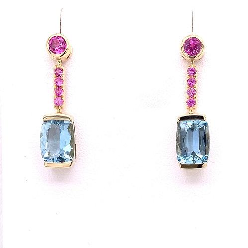 Aquamarine & Pink Sapphire Earrings