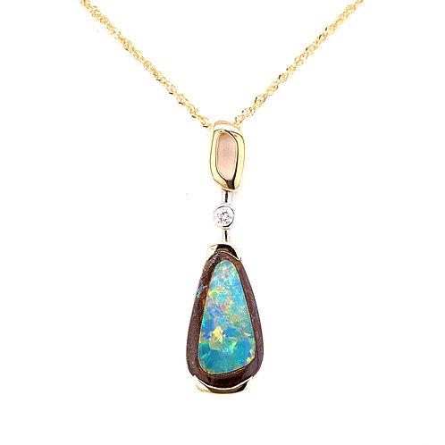 Black Boulder Opal & Diamond Necklace
