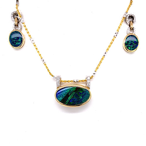 Boulder Opal & Diamond Necklace and Earrings