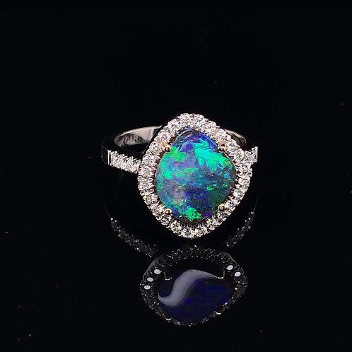 Black Boulder Opal & Diamond Ring