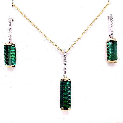 Blue-Green Tourmaline & Diamond Necklace and Earrings