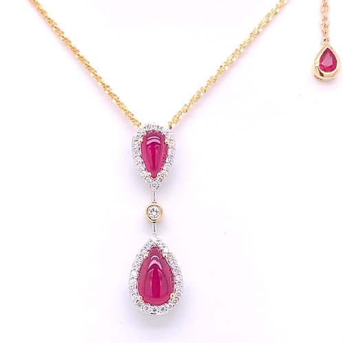 Cabochon Ruby & Diamond Necklace