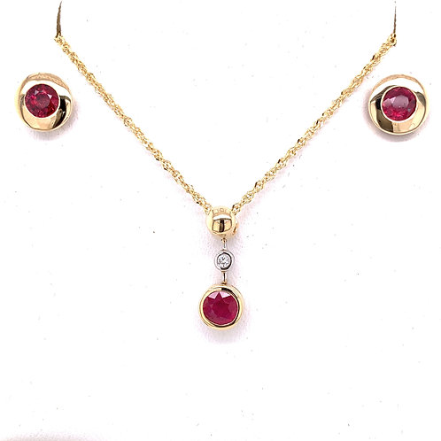 Ruby & Diamond Necklace and Ruby Earrings