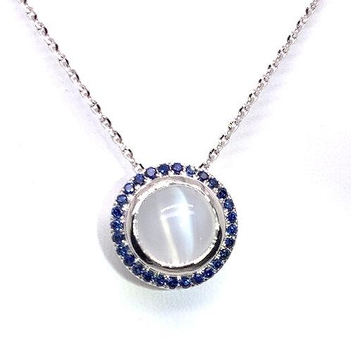 Cat's Eye Moonstone& Sapphire Necklace