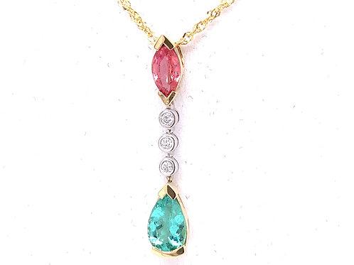Paraibo Tourmaline, Sapphire & Diamond Necklace