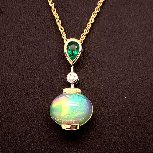 Emerald, Opal & Diamond Necklace