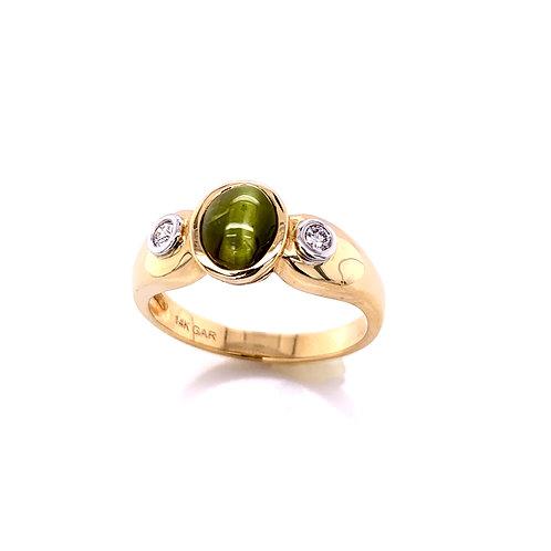 Chrysoberyl Cat's Eye & Diamond Ring