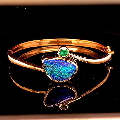 Black Boulder Opal & Emerald Bracelet