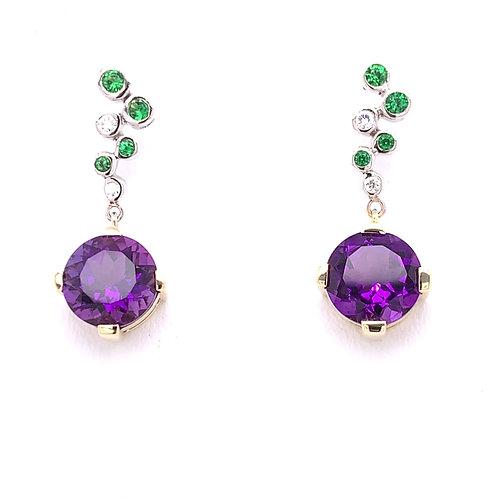 Amethyst, Tsavorite & Diamond Earrings