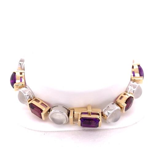 Rhodalite, Amethyst & Cat's Eye Moonstone Bracelet