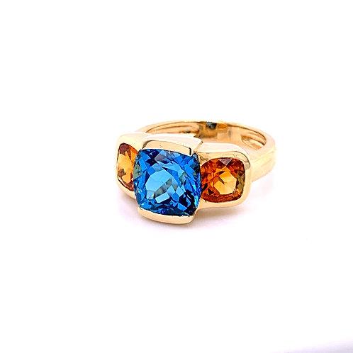 Blue Topaz & Citrine Ring
