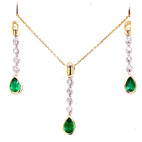 Emerald & Diamond Necklace and Earrings