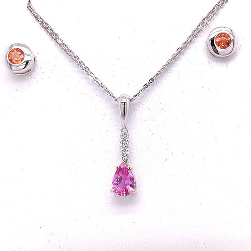 Pink Sapphire & Diamond Necklace and Orange Sapphire Earrings