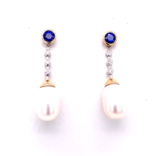 Sapphire, Freshwater Pearl & Diamond Earrings