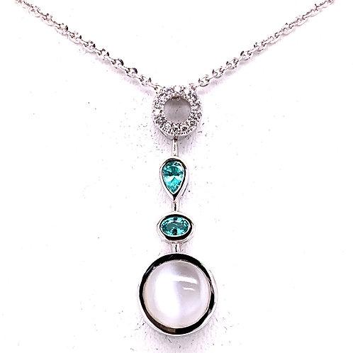 Cat's Eye Moonstone, Paraiba Tourmaline & Diamond Necklace