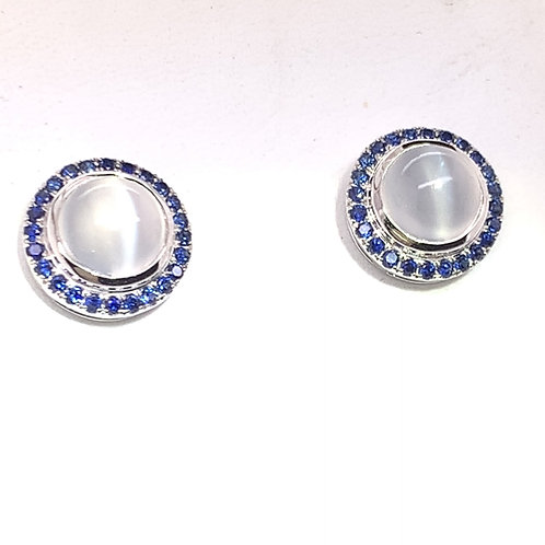 Cat's Eye Moonstone & Sapphire Earrings