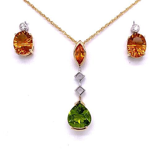 Peridot, Citrine & Diamond Necklace andCitrine & Diamond Earrings