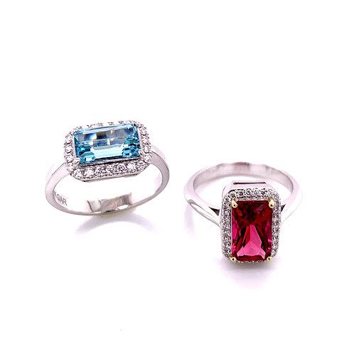 Pink Tourmaline & Diamond and Aquamarine & Diamond Rings