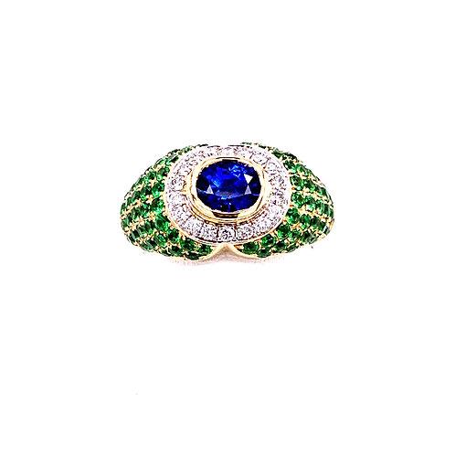 Sapphire & Tsavorite Ring