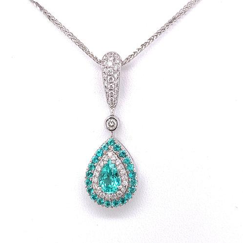 Paraiba Tourmaline & Diamond Necklace