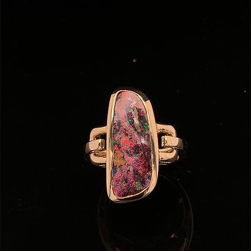 Black Boulder Opal Ring
