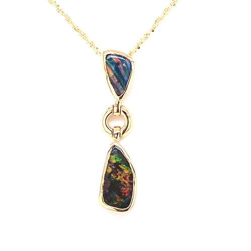 Black Boulder Opal Necklace