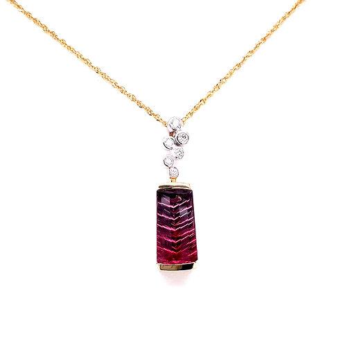 Burgundy Tourmaline & Diamond Necklace