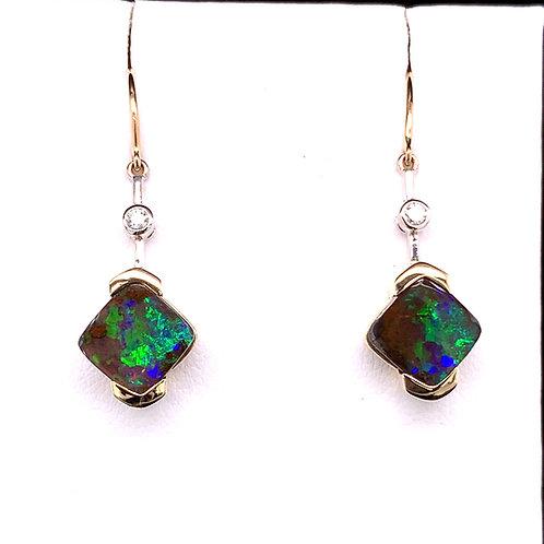 Black Boulder Opal & Diamond Earrings